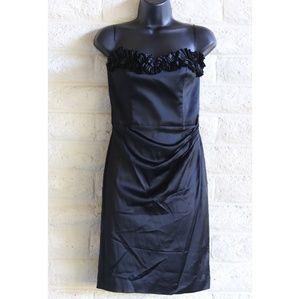 WHBM | strapless black satin cocktail dress EUC